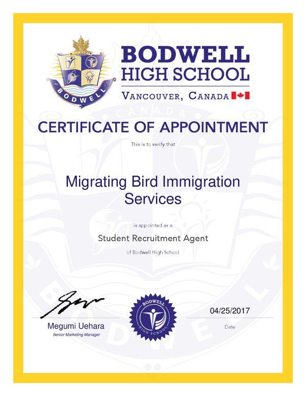 Migrating-Bird-Agent-Certificate-2017-001-2